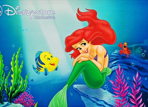 Walt Disney Characters karatasi la kupamba ukuta probably containing anime called Walt Disney picha - Flounder, Princess Ariel & Sebastian