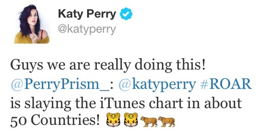 katy perry tweet .. about itunes
