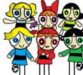 the powerpuff girls and the rowdyruff boys at the door
