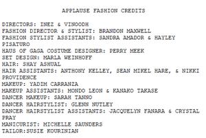 'Applause' Fashion credits