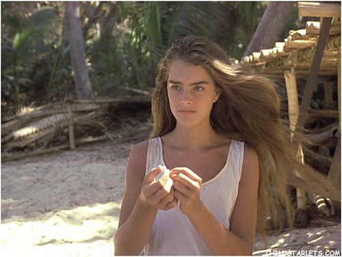 """Brooke Shields wallpaper possibly with a parasol and a portrait entitled """"The Blue Lagoon"""" - 1980"""