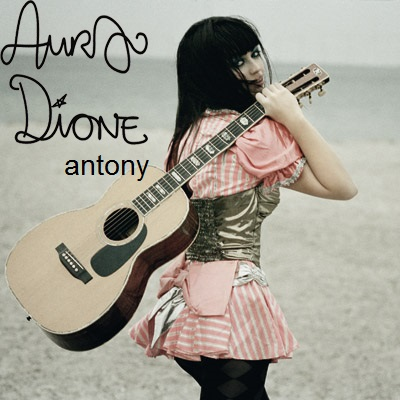 Aura Dione Fanclub fond d'écran with an acoustic guitare entitled Aura Dione - Antony