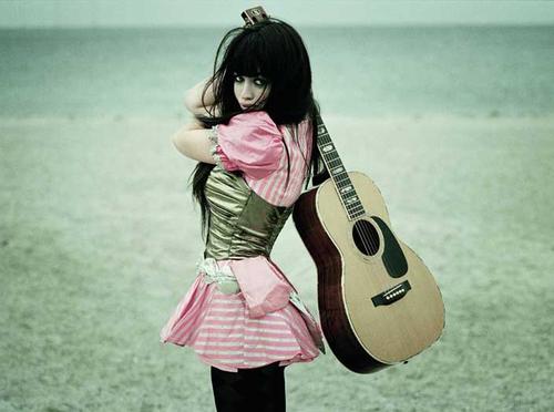 Aura Dione Fanclub karatasi la kupamba ukuta with an acoustic guitar, gitaa entitled Aura Dione