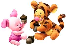 winnie the pooh wallpaper entitled Baby Tigger & Piglet