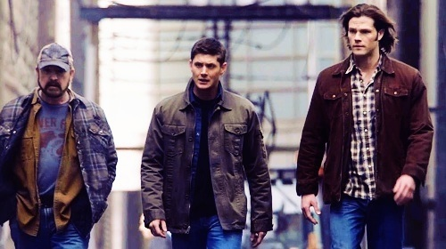 Supernatural wolpeyper possibly with a well dressed person and an outerwear entitled Bobby, Dean, and Sam