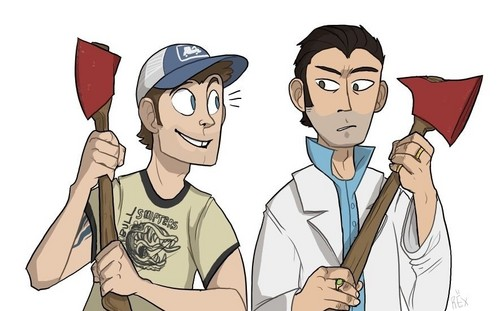 left 4 dead 2 wallpaper with anime called Ellis and Nick