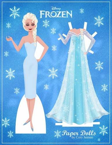 Frozen wallpaper probably containing a makan malam dress titled Elsa Paper Doll