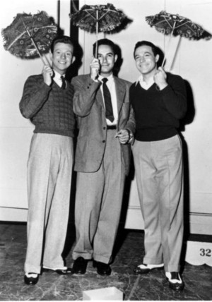 Gene Kelly, Donald O'Connor and Stanley Donen behind the scenes of 'Moses Supposes'