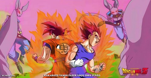 Dragon Ball Z wallpaper probably with anime titled Goku and Vegeta gode mode vs bills