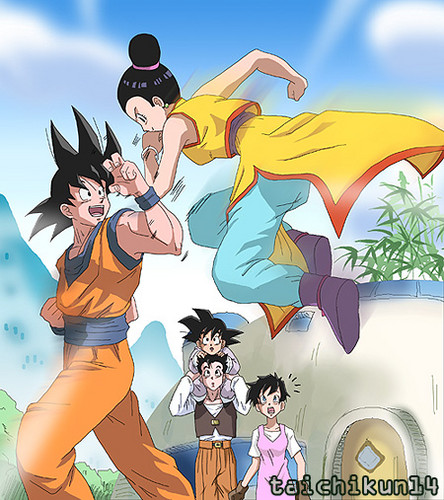 dragon ball z wallpaper with animê called goku vs Chichi