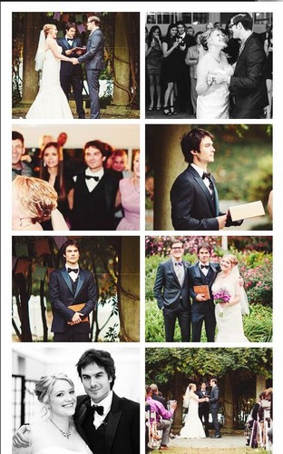Ian Somerhalder e Nina Dobrev wallpaper probably containing Anime titled Ian and Nina at Jessica's wedding