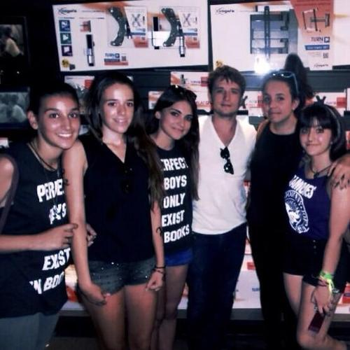 Josh Hutcherson wallpaper probably with a carreggiata, strada carraia titled Josh with some fan in Madrid [08.22.2013]