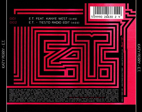 Katy Perry E.T. Cd Single Back