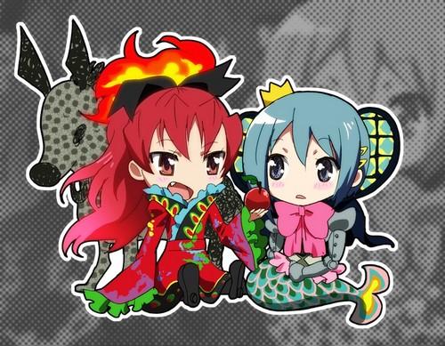 Puella Magi Madoka Magica fond d'écran titled Kyouko & Sayaka ~ Ophelia & Oktavia Chibis