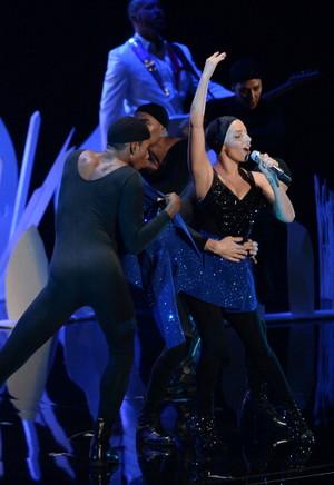 Lady GaGa performing at the MTV VMAs 2013