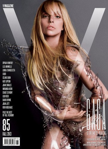 lady gaga wallpaper probably containing a hip boot and a portrait entitled Lady Gaga for V Magazine - V85 Cover 3: Versace
