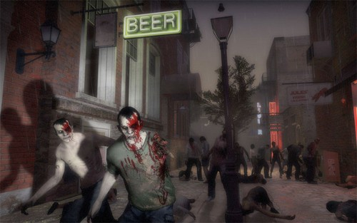 Zombies kertas dinding with a jalan and a green beret called Left 4 Dead 2