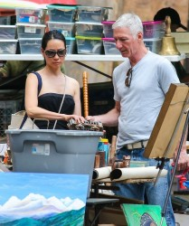 Lucy Liu and her new boyfriend so antique shopping with her dog in downtown Manhattan, New York City