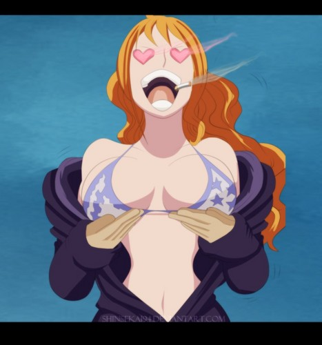 One Piece wallpaper containing anime entitled Nami (>w<)