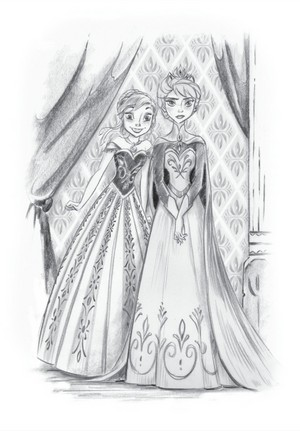 Official Frozen illustration of Elsa and Anna