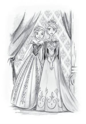Official Nữ hoàng băng giá illustration of Elsa and Anna