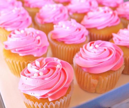 粉, 粉色 杯形饼, 蛋糕