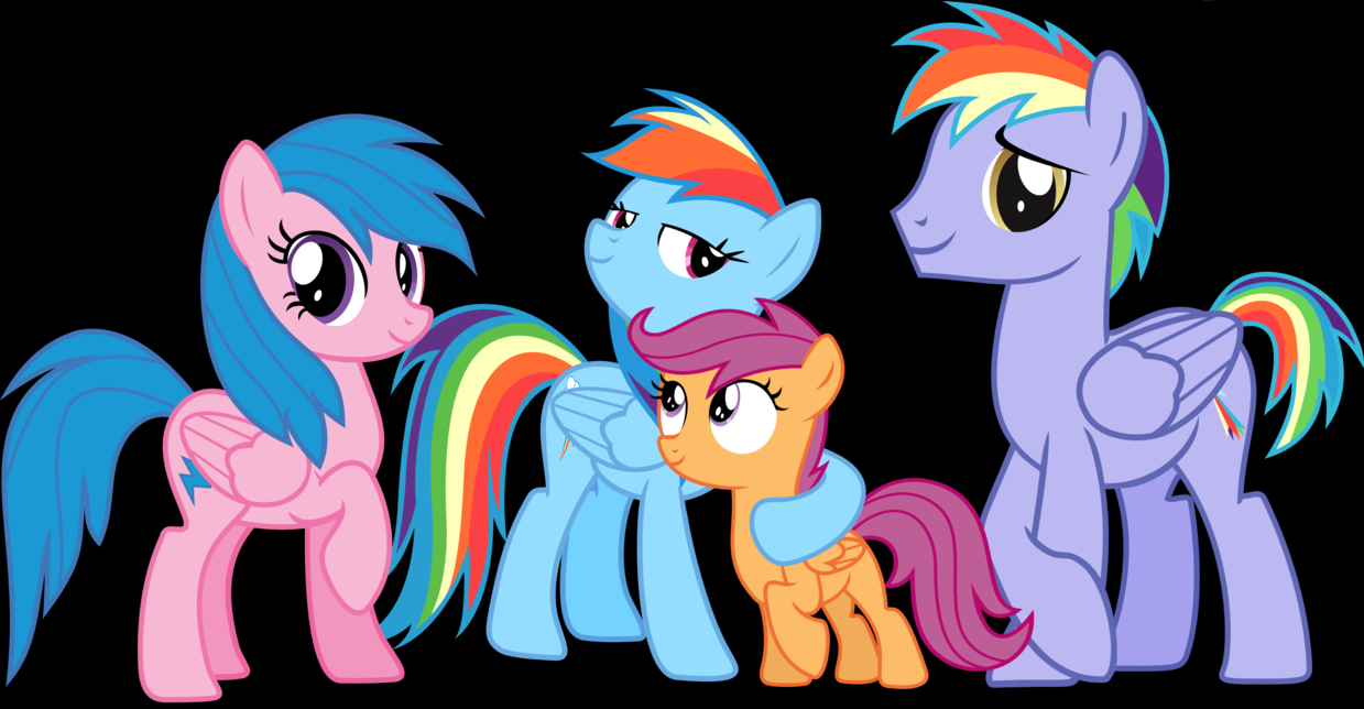 pelangi, rainbow Dash's Family + Scootaloo