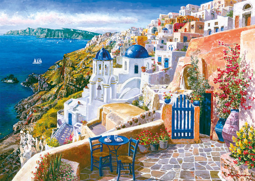 Greece 바탕화면 probably with a resort, a villa, and a 별장, 빌라 titled Santorini Puzzle