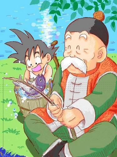 Son Gohan Jiisan and Goku