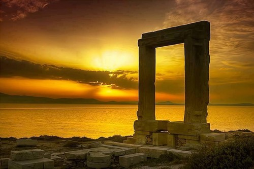Greece wallpaper containing a guillotine called Sunset in Portara, Naxos