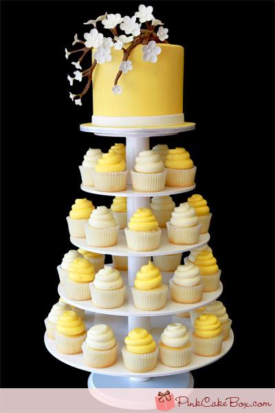 Yellow White And Gray Wedding Cakes