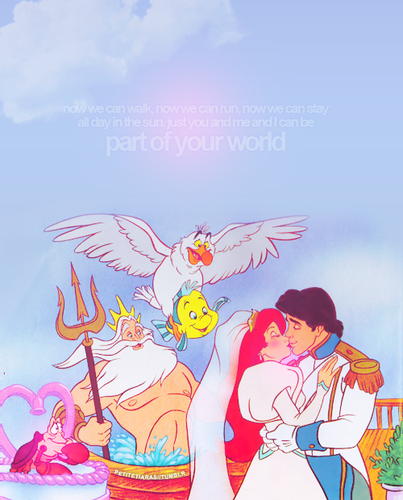 Ariel and Eric wallpaper with anime entitled ariel and eric