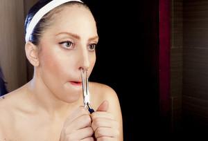 """""""Gaga adjusting her nose ring."""" - (by Terry Richardson)"""