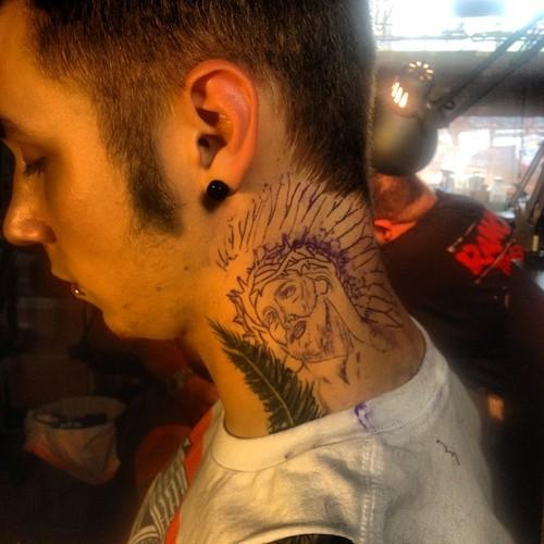 "Andy Sixx Hintergrund titled ★ ""In the beginning"" Jesus w/ a headdress tattoo ☆"