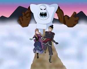 Anna, Kristoff and Marshmallow