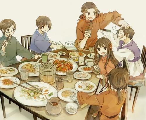 Hetalia پیپر وال containing a holiday dinner, a dinner, and a رات کے کھانے, شام کا کھانا میز, جدول entitled Asian Family~