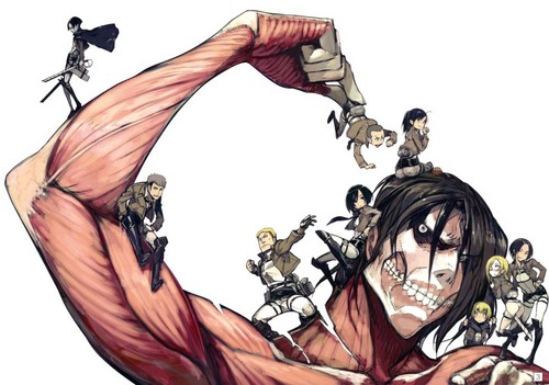 Attack on Titan karatasi la kupamba ukuta possibly with anime titled Attack On Titan <3
