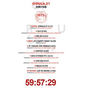 Bangtan Boys (BTS) tracklist for 'O! R U L8, 2?'