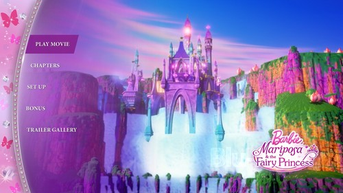 Barbie films achtergrond possibly with anime entitled Barbie Mariposa and the Fairy Princess DVD Menu
