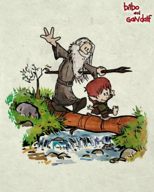 Bilbo and Gandalf in calvin and hobbes