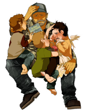 Bobby, Sam, Dean and Cas