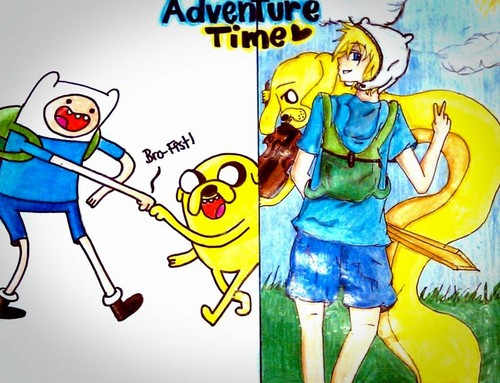 Adventure Time With Finn and Jake wallpaper containing anime called Cartoon Turned To Anime