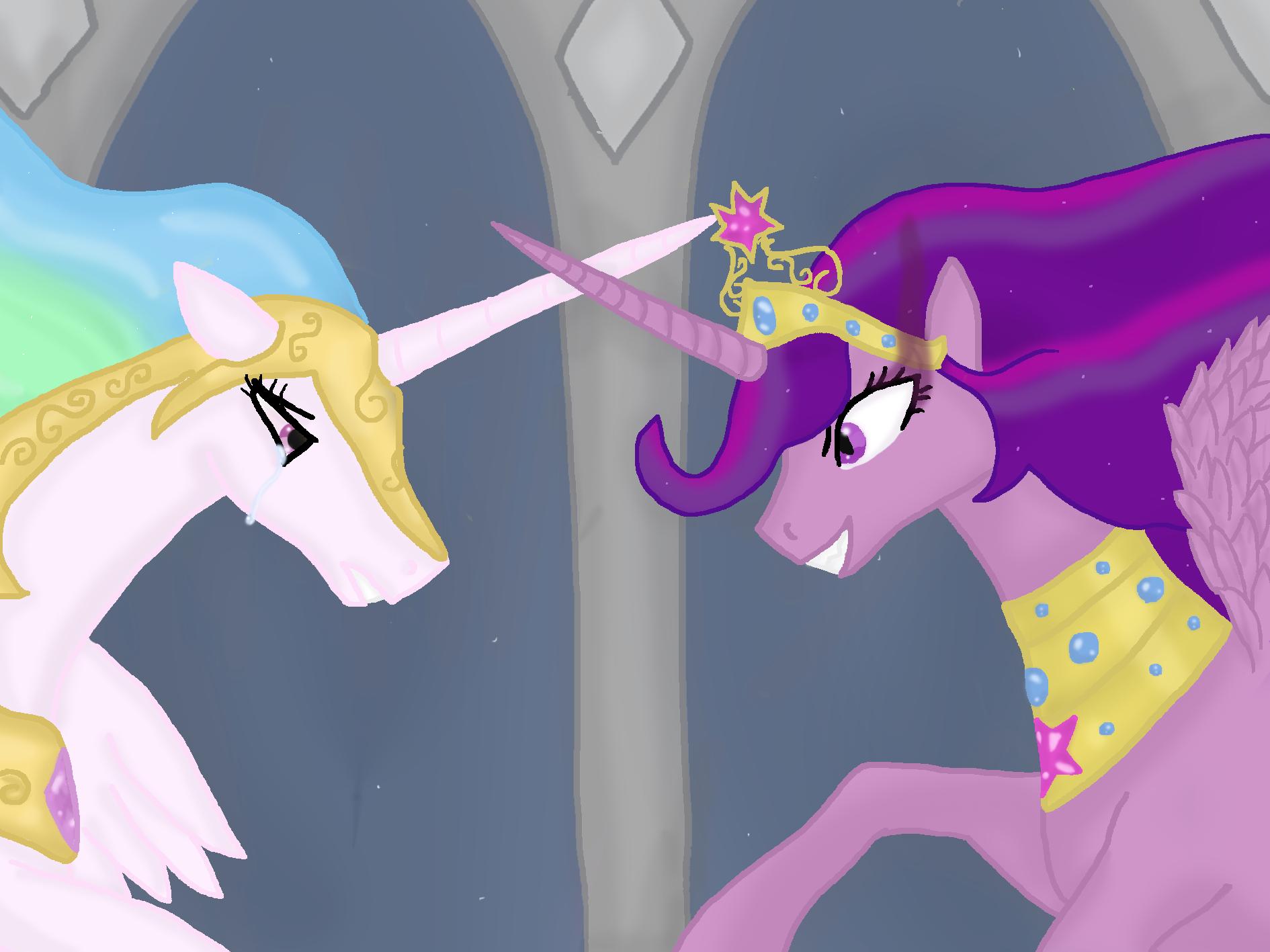 Celestia And Evil Twilight My Little Pony Friendship