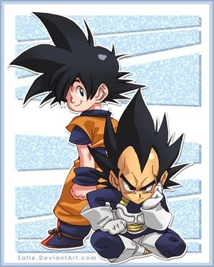 Chibi Goku and Chibi Vegeta