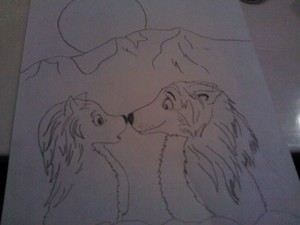 Dog Drawler's drawing of Kate and Humphrey's nuzzle moment