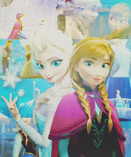 ফ্রোজেন দেওয়ালপত্র entitled Elsa and Anna