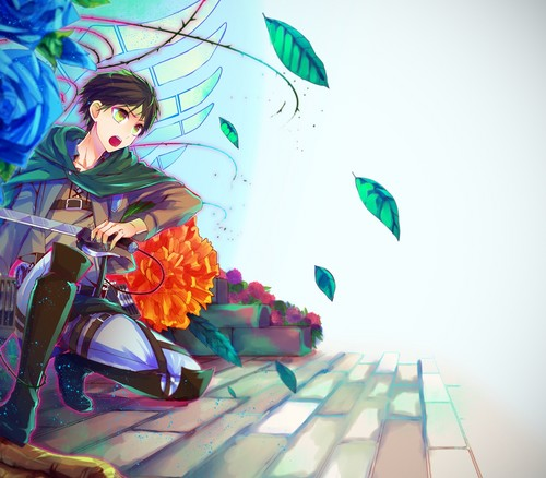 Attack on Titan karatasi la kupamba ukuta probably containing a bouquet titled Eren Jaeger