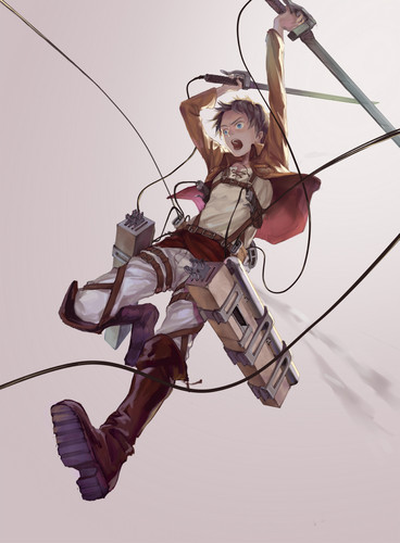 Attack on Titan karatasi la kupamba ukuta probably containing a hang glider titled Eren Jaeger