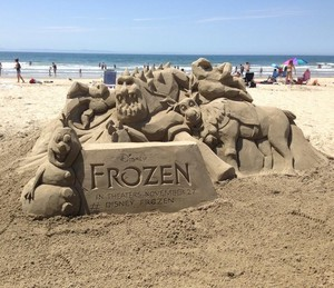 Frozen sand sculpture