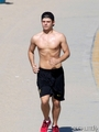 Garrett Clayton: Shirtless Jog in Santa Monica